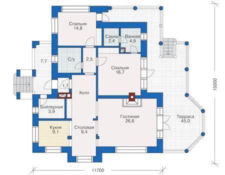 Одноэтажный деревянный дом из клееного бруса с санузлом, кухней и тремя жилыми комнатами