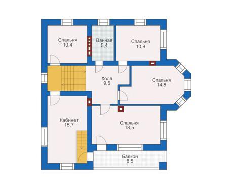 нее проект коттеджа с 4 спальнями на втором этаже магазинов Санкт-Петербурга