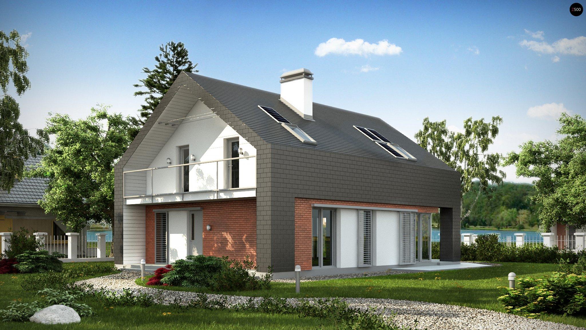 Проект практичного дома с необычной мансардой и стильным кир.