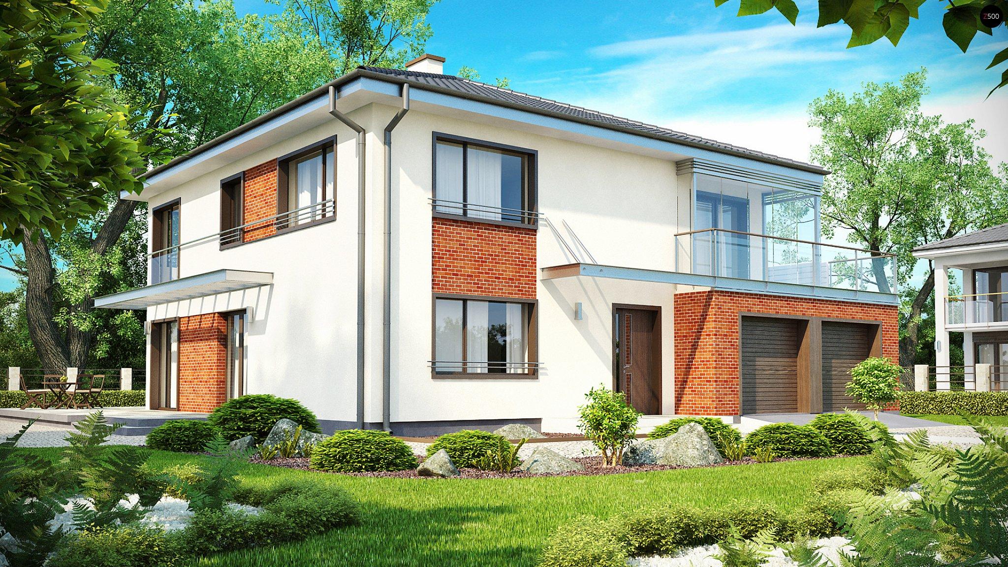 Проект двухэтажного дома из блоков с застекленным эркером на.