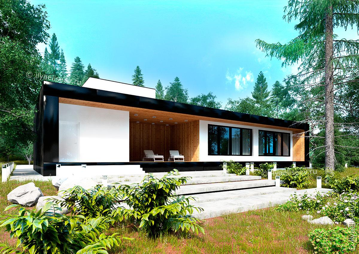 Проект одноэтажного дома с двускатной крышей в Венгрии