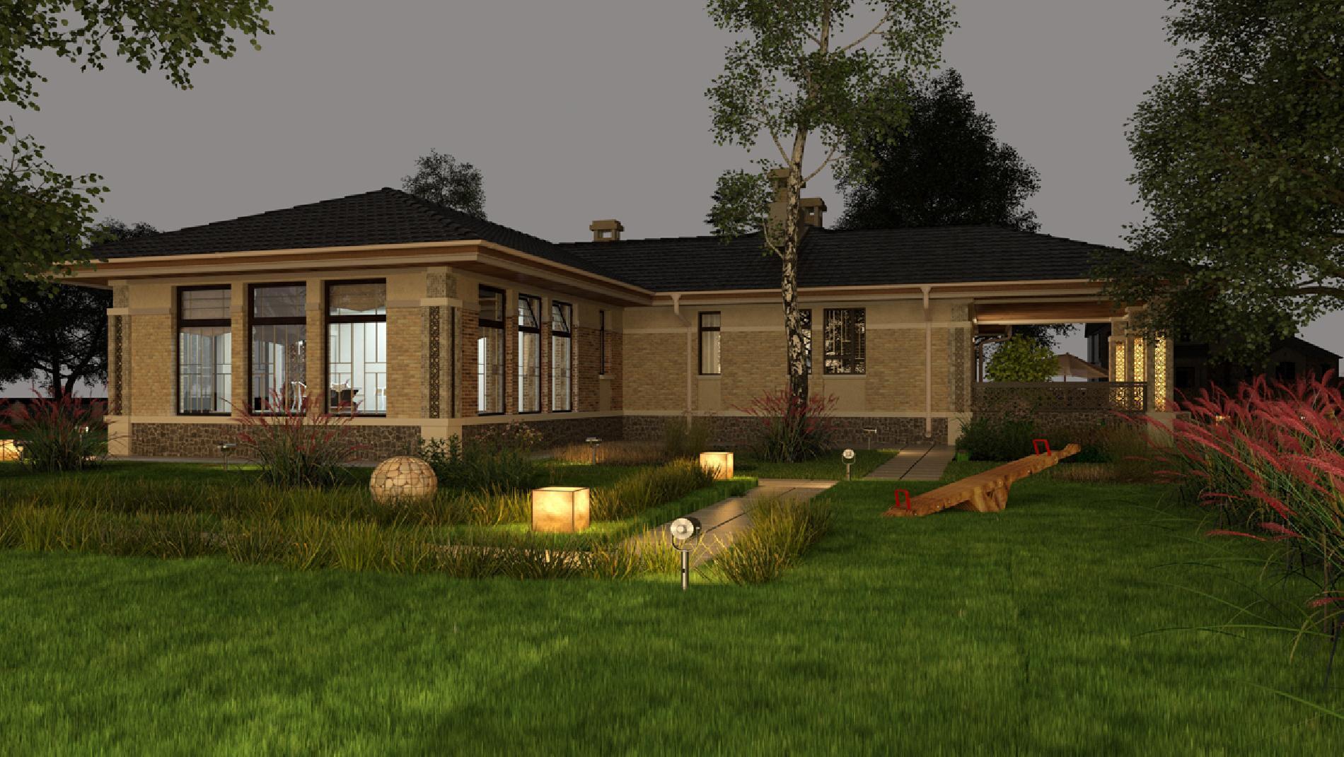 Проект одноэтажного дома с бассейном и сауной, баней, хамамом, зоной СПА