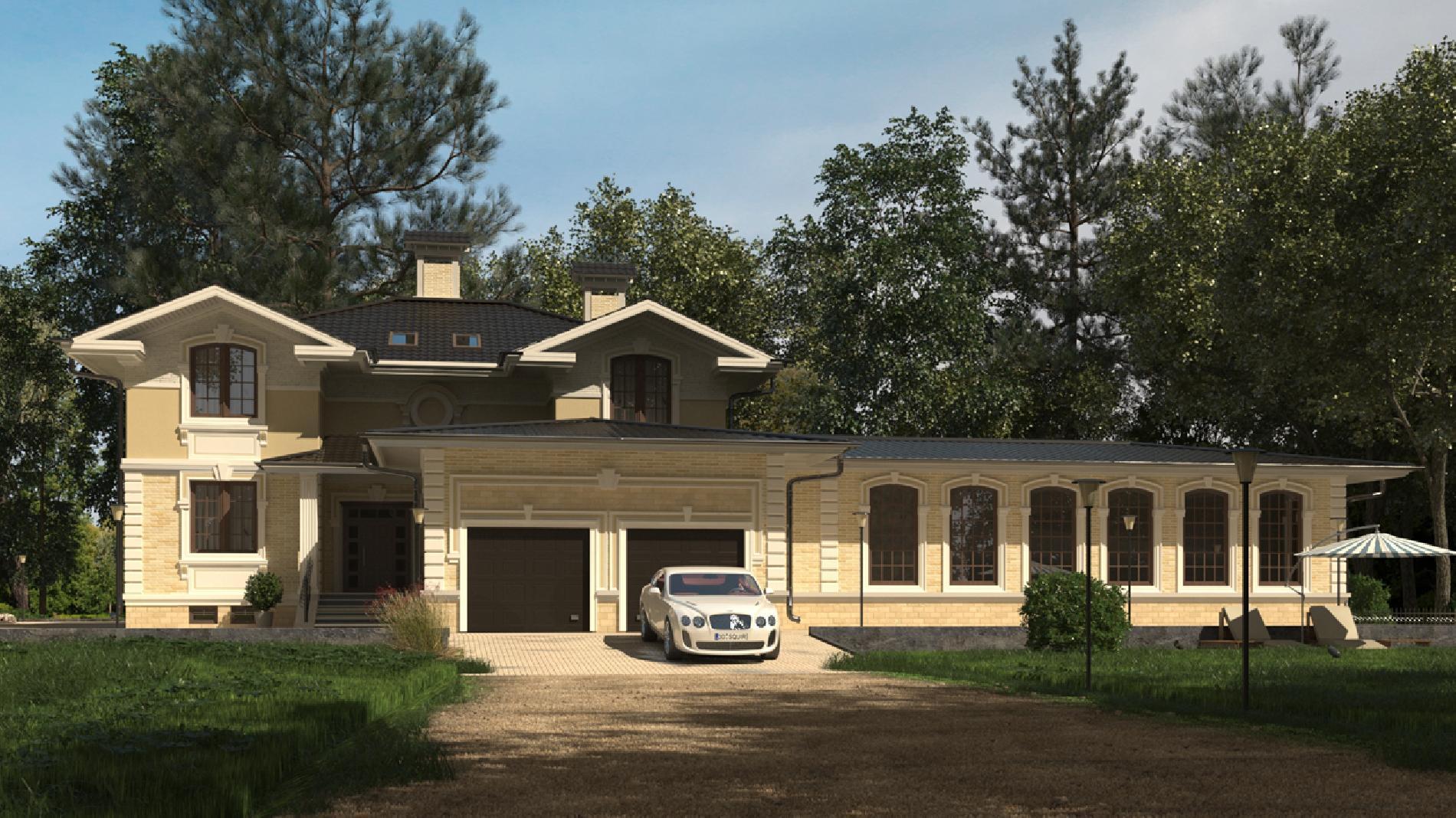 проект дома с гаражом и бассейном