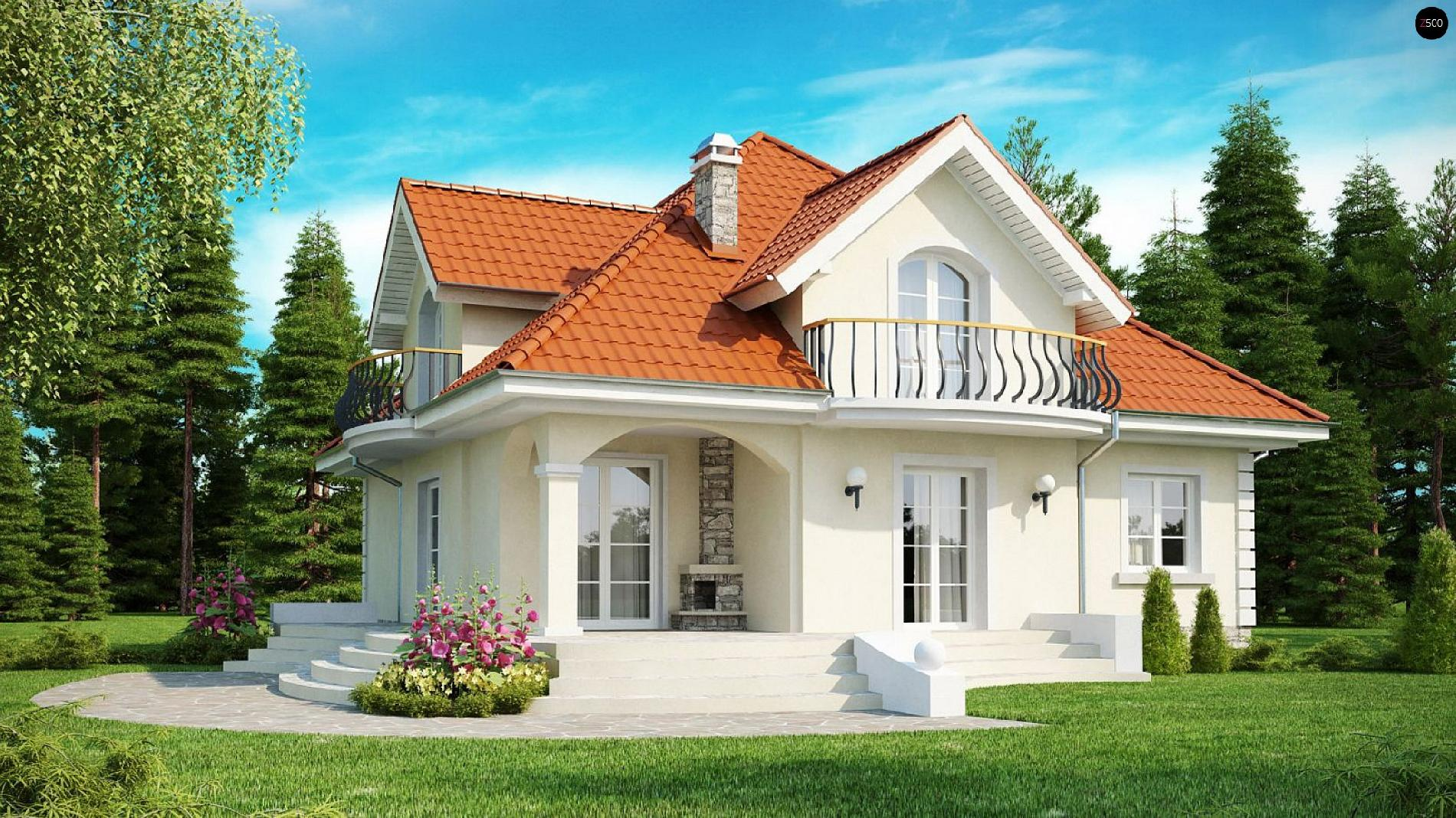 Проект классического дома с мансардными окнами и балконами 7.
