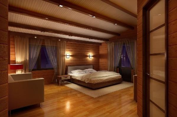 Дизайн спальни коттеджа